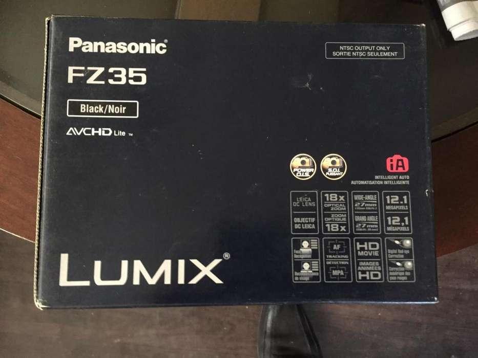 Cámara semi profesional Panasonic FZ35 bien cuidado con todo sus accesorios