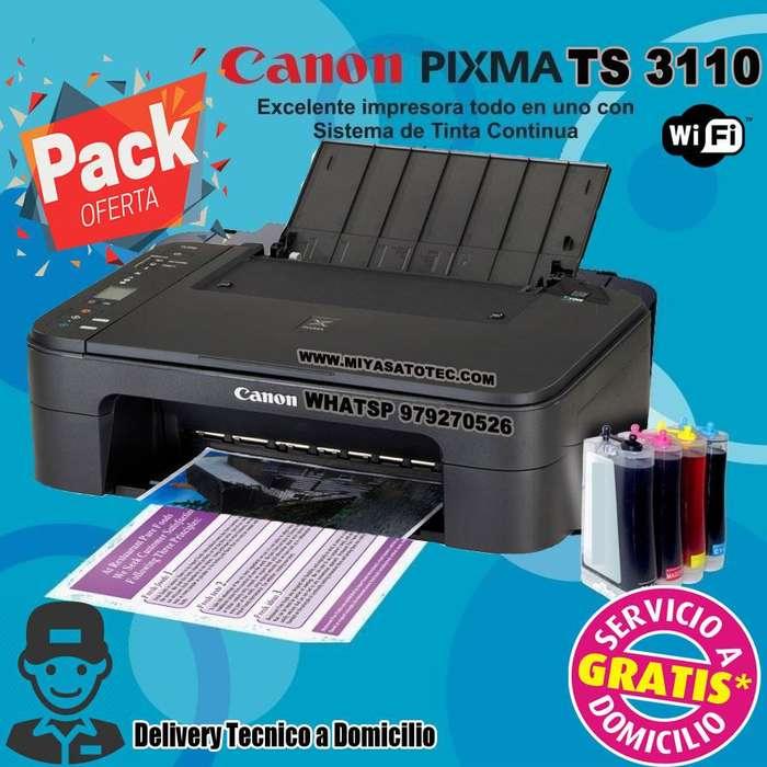 <strong>impresora</strong> multi canon pixma wifi ts 3110 con sistema de tinta continua
