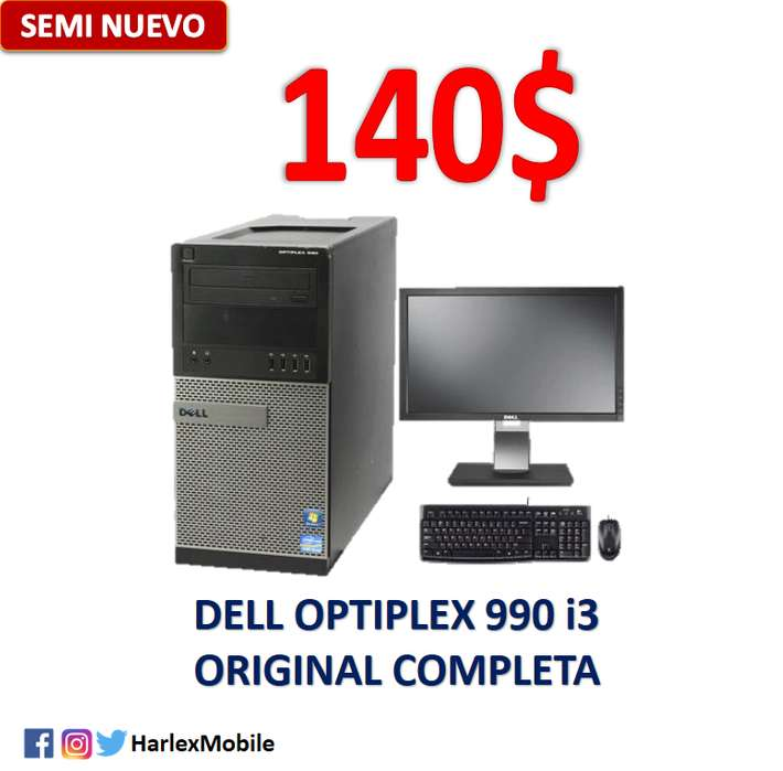 SE VENDE o CAMBIA Dell Optiplex 990 i3 Windows OEM 4GB RAM 250GB HDD COMPLETA Raton,Teclado,Monitor DELL*Local Comercial