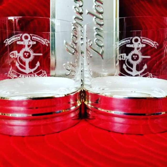 Vaso de Whisky Plata Y Cristal