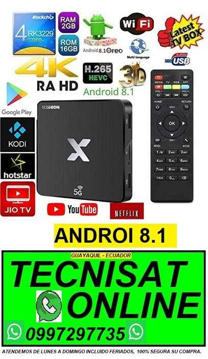 TVBOX EZRA X 2GB RAM, 16GB ROM, ANDROI 8.1, COVERTIDOR TV BOX SMARTV NETFLIX SERIES PELICULAS YOUTUBE CANALES ONLINE
