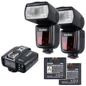 2 Flash Godox V860 ii con baterias y sus <strong>cargador</strong>es.