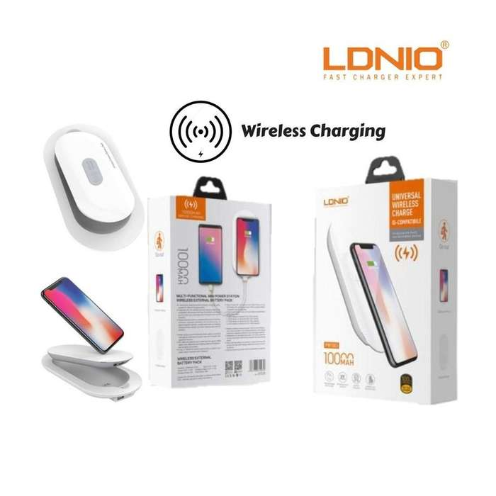 COMBO 2EN1 CARGADOR INALAMBRICO LDNIO POWER BANK CARGADOR IQ IPHONE SAMSUNG XIAOMI CALIDAD 5A PW501