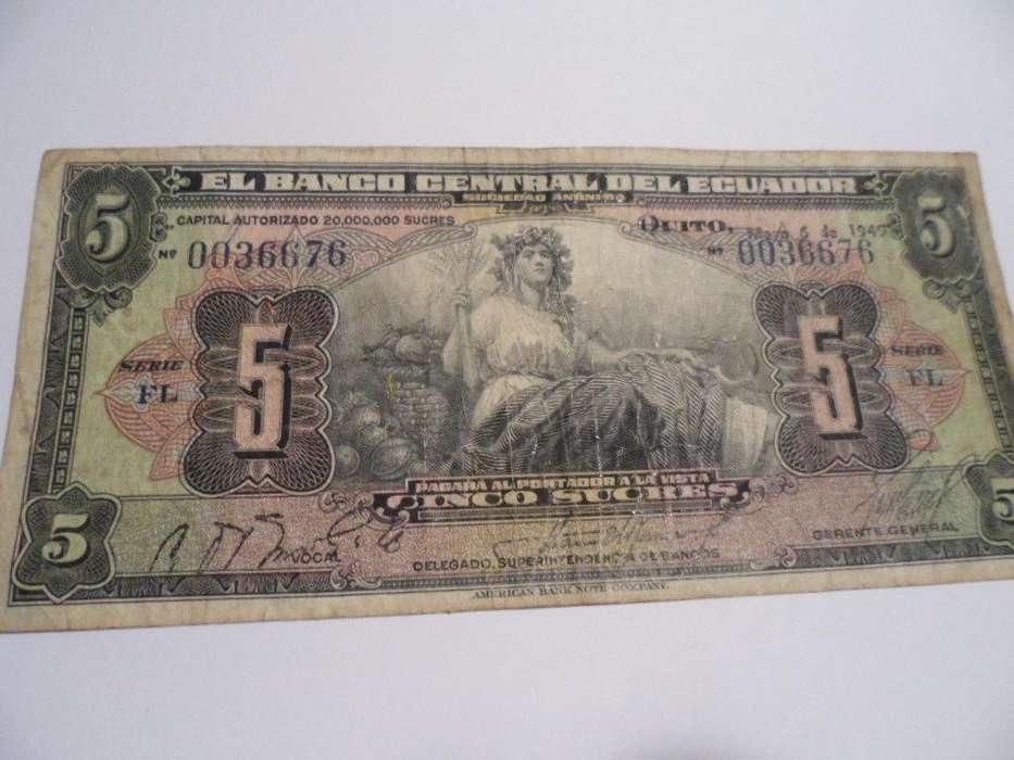 Sinco Sucres, antiguo billete del 6 de mayo de 1949 impecable