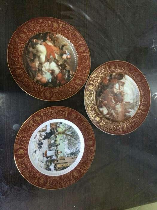 Juego de 3 Platos Porcelana Tsuji Oro24