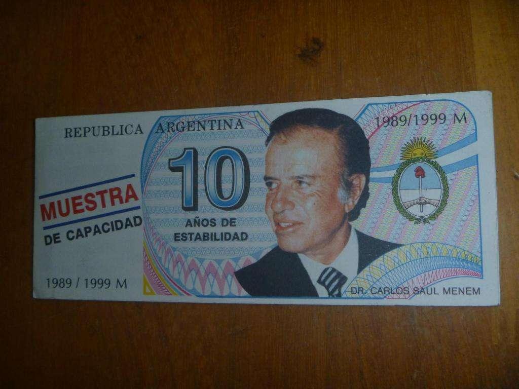 BILLETE PROPAGANDA PUBLICIDAD MENEM 10 AÑOS ART.2425