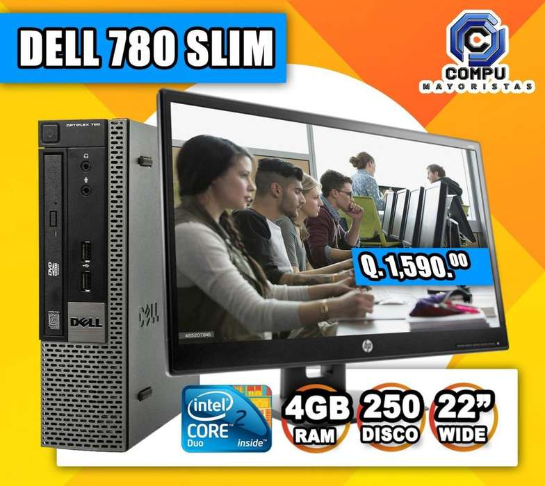 ULTRA SLIM DELL OPTIPLEX 780 INTEL CORE2 DUO 4GB RAM 250GB DISCO DURO MONITOR DELL 19.1'' PLGS 10 VISA CUOTAS Q159.00
