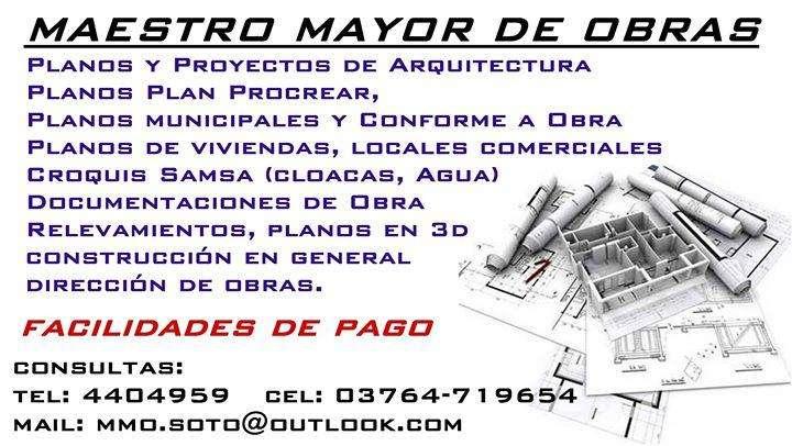MAESTRO MAYOR DE OBRAS PLANOS CONSTRUCCIONES EN GENERAL