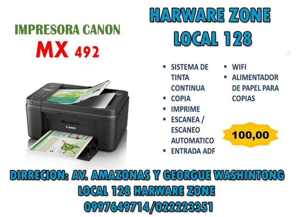 Impresora Canon Mx492 C/sistema Wifi Adf