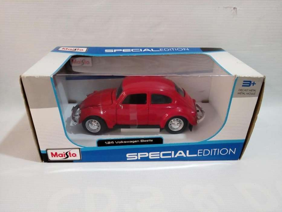 Volkswagen Beetle Rojo Escala 1/24 de Coleccion Caja Maisto