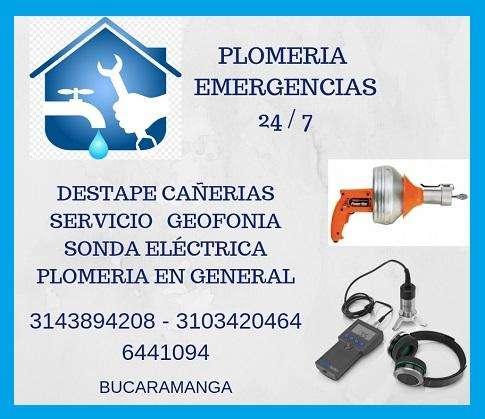 PLOMERIA- DESTAPE CAÑERÍAS -LOCALIZACIÓN DE FUGAS-GEOFONO - 3143894208 -3103420464 -6441094
