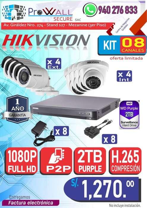 Cámaras de Vigilancia: Kit Full HD 1080 de 8 Canales.