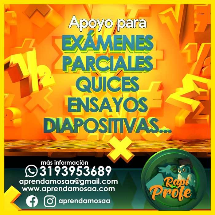 Parciales, Quices, Trabajos, Talleres de matematicas, calculo, algebra, fisica, estadística, Ensayos. 3193953689