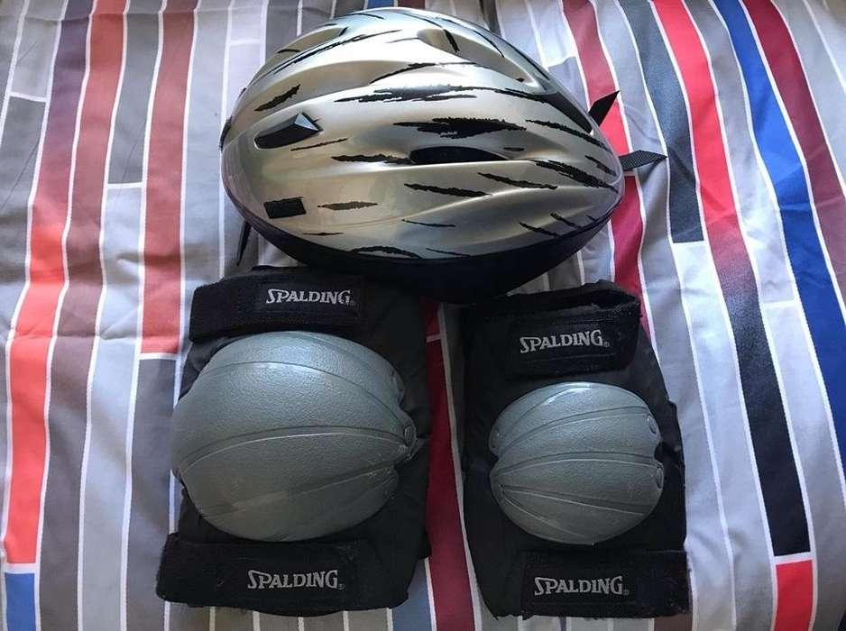 Casco bicicleta Rodilleras y Codeas marca SPALDING originales