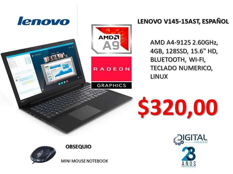 LENOVO V145-15AST, ESPAÑOL, AMD A4-9125 2.60GHz, 4GB, 128SSD, 15.6