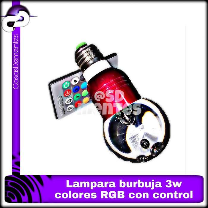 LAMPARA SPOT LED CRISTAL BURBUJA RGB 3W E27 CONTROL REMOTO
