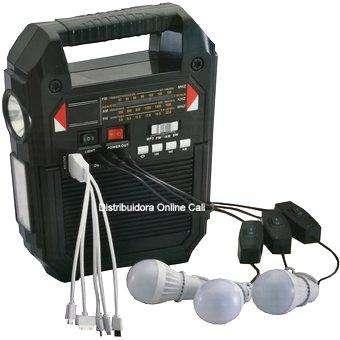 Panel Solar 3 Bombillos Radio Fm Usb Sd Linterna Bluetooth