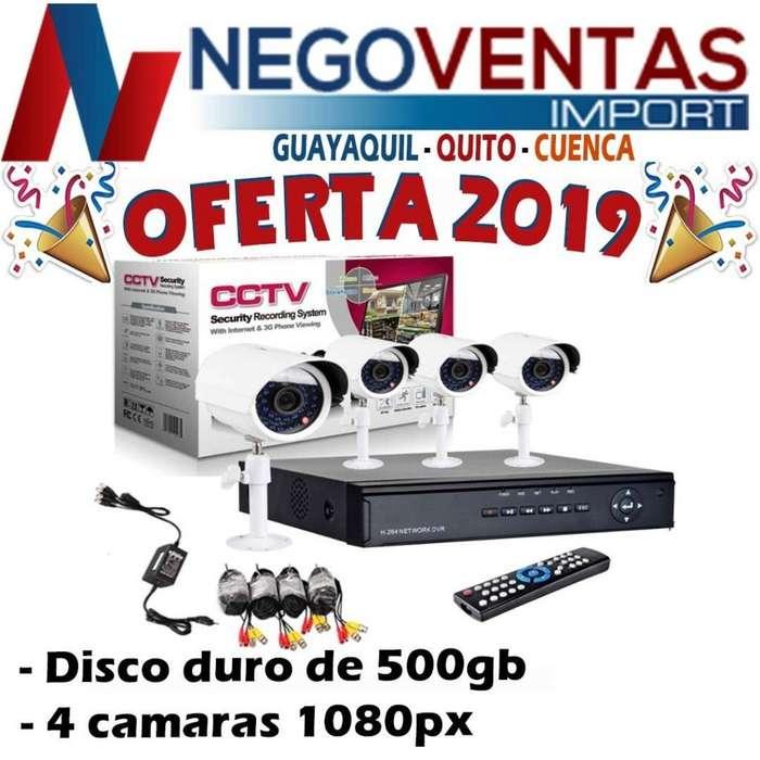 KIT 4 CÁMARAS DE SEGURIDAD CON DVR DISCO DURO 500GB