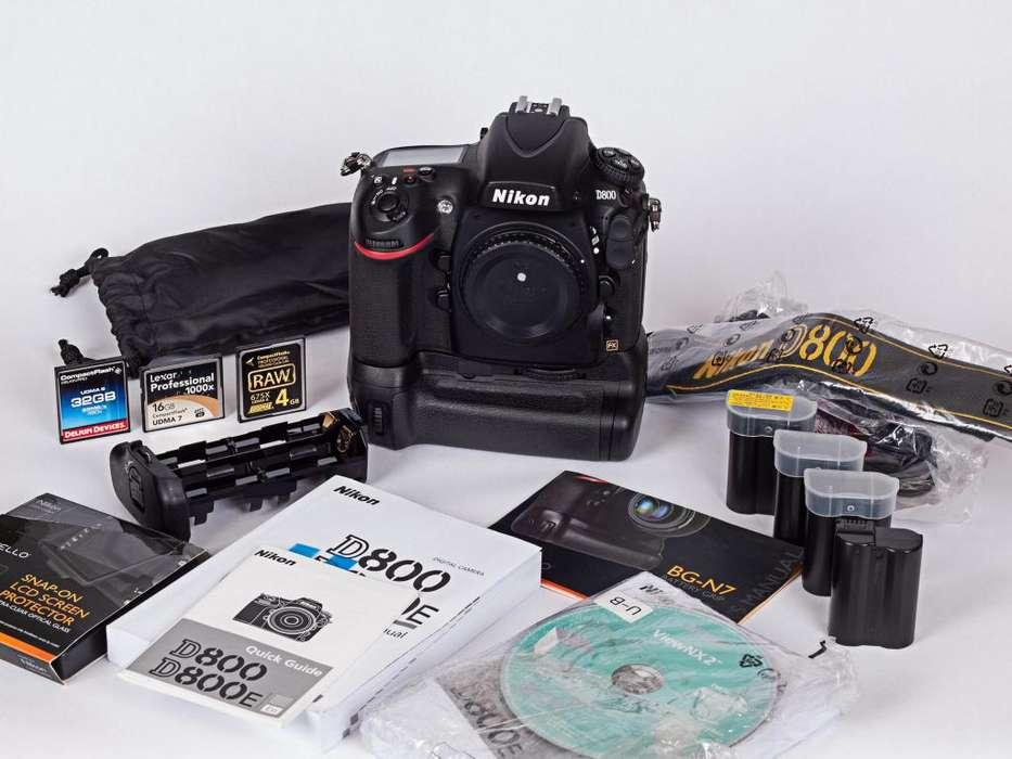 Nikon D800 Cuerpo, Grip, 4 Baterías, Cargador, 3 Tarjetas Cf