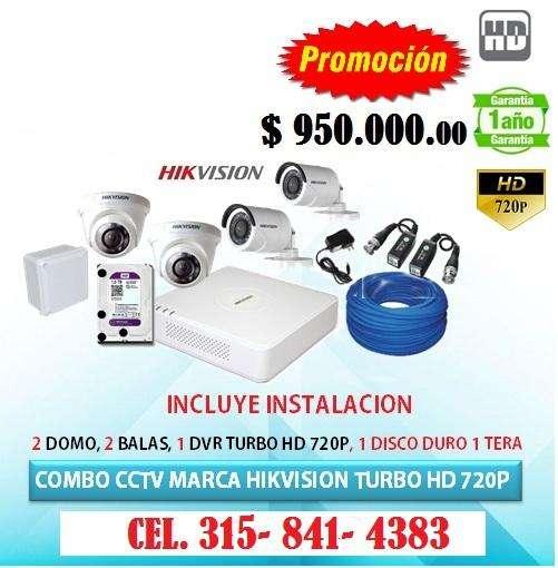 Kit de 4 camaras de seguridad Hikvision PROMO ESPECIAL