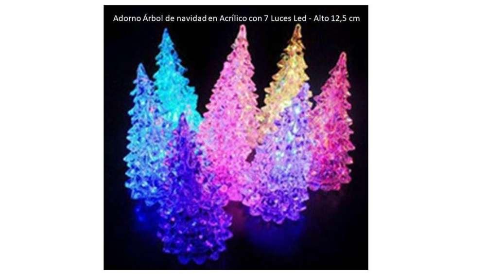 Adorno 7 luces Árbol De Navidad Paq x 6 Acrílico Led 12 cm Cali
