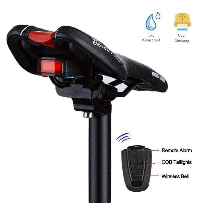 Alarma anti robo, Luz trasera, y localizador de Bicicleta con control remoto