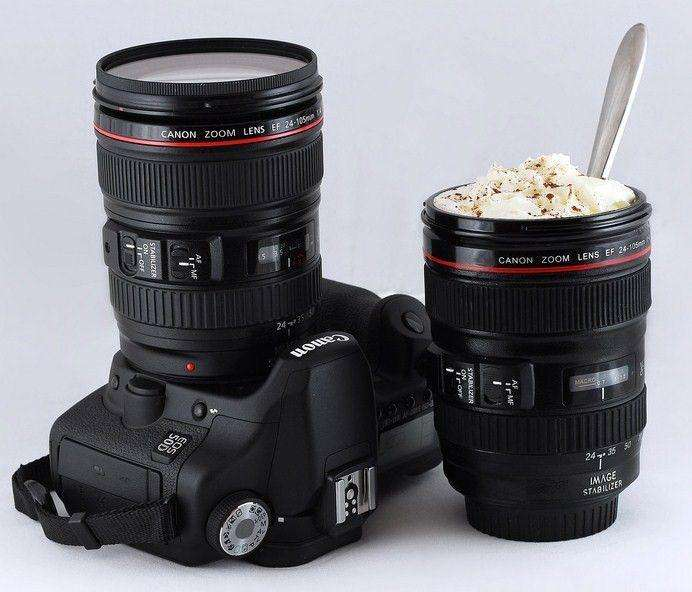 Taza lente fotográfico / Regalo / interior 100 acero inoxidable
