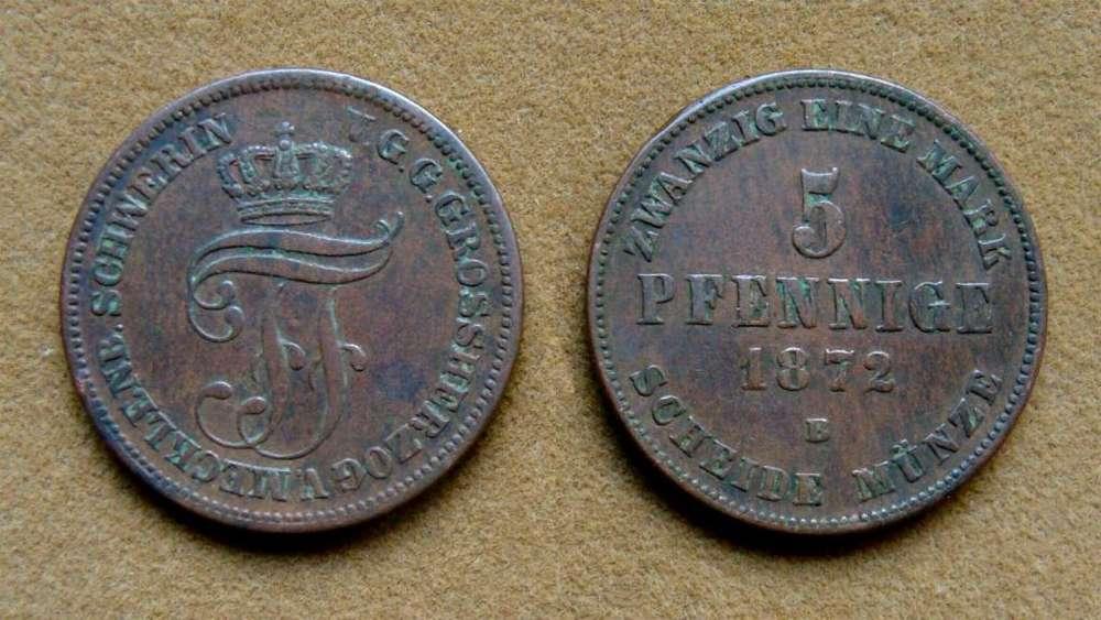 Moneda de 5 pfennige Mecklenburg Schwerin, Alemania 1872