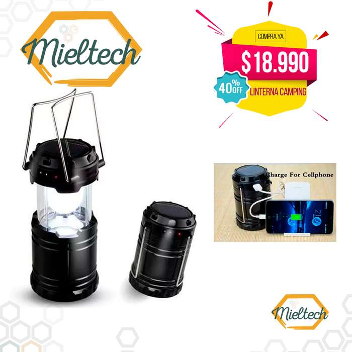 Lampara recargable linterna led 2 luces para camping solar