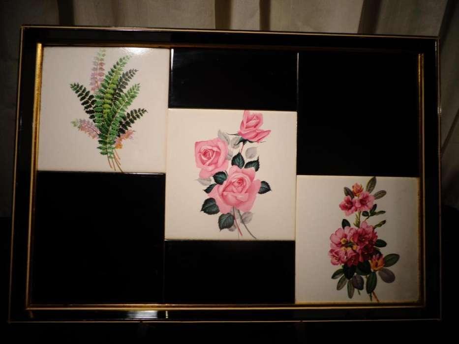 Exquisita Bandeja Madera Laqueada Y <strong>ceramica</strong>s Diseño motivos florales