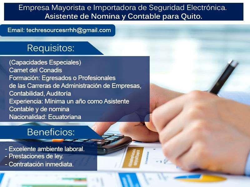 Necesitamos personal asistente contable para Quito, empresa importadora mayorista en seguridad electrónica.