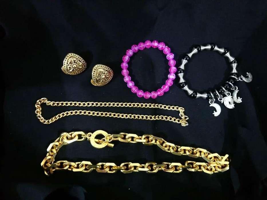 9e2a4acbe27a Pulseras violeta dijes collar collares dorado aros odalisca casi sin uso