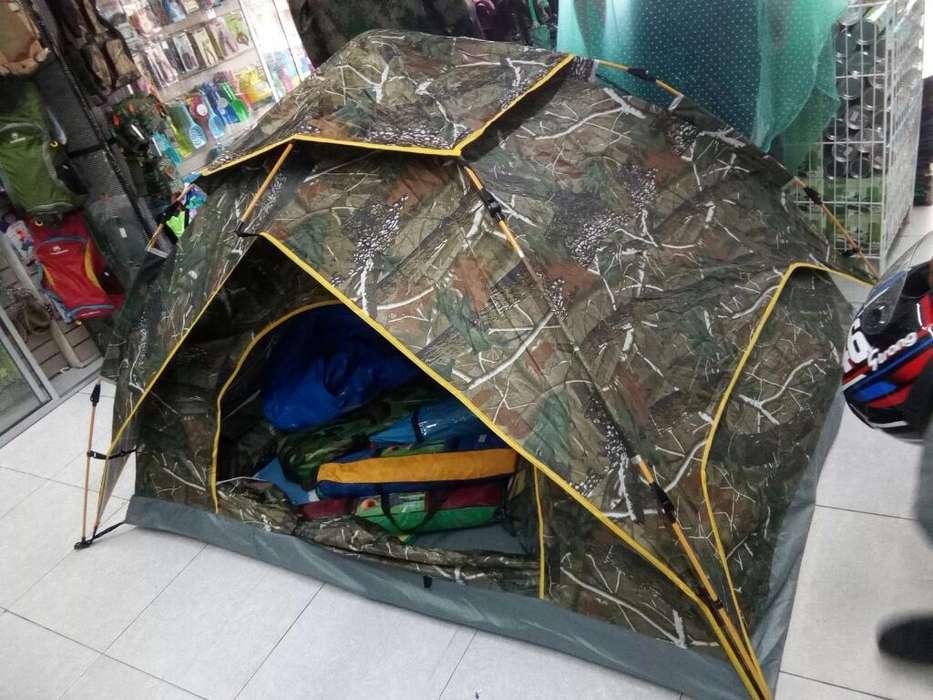 Carpa Camping con sobre Carpa, Armado automático.