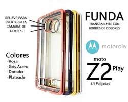 Funda Bordes Colores Vidrio Templado Moto Z2 Play Rosario