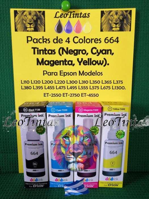 Tintas 664 Compatibles para <strong>impresoras</strong> Epson Alta calidad formulada