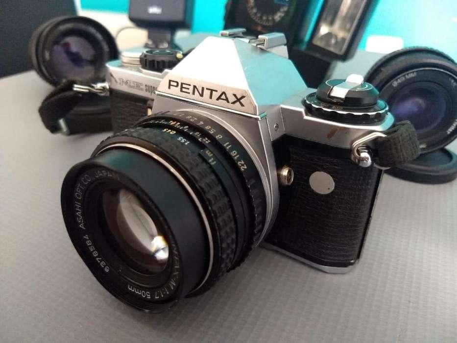 Camara Pentax Me Super 3 Lentes 2 Flash