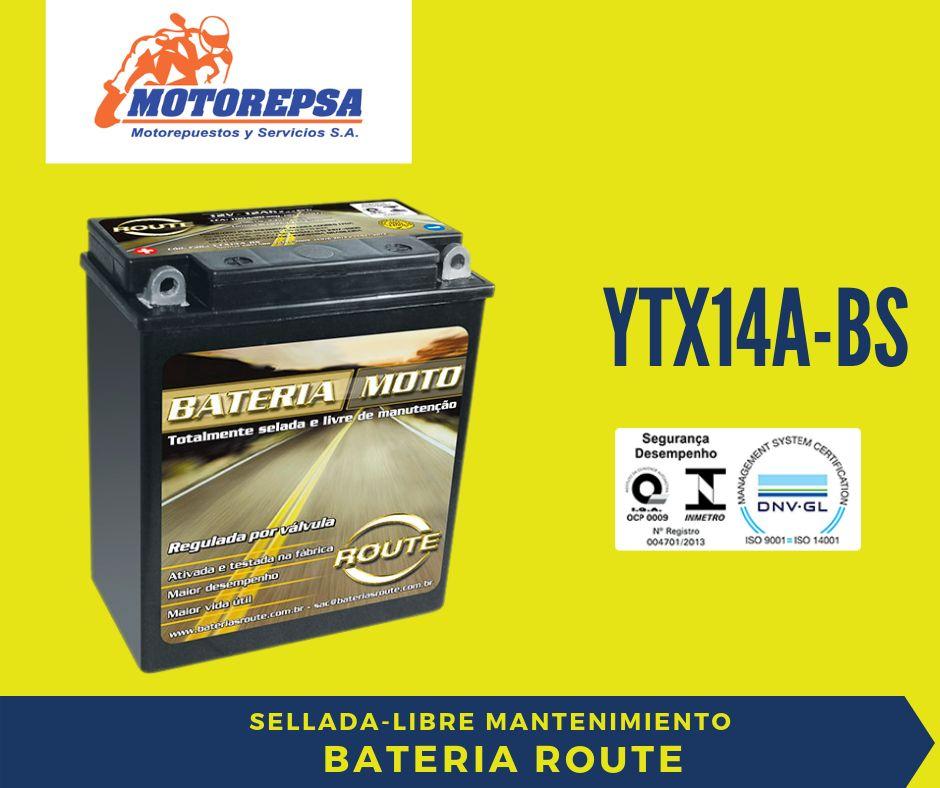Bateria MOTO ROUTE YTX14A BS / 12V12Ah