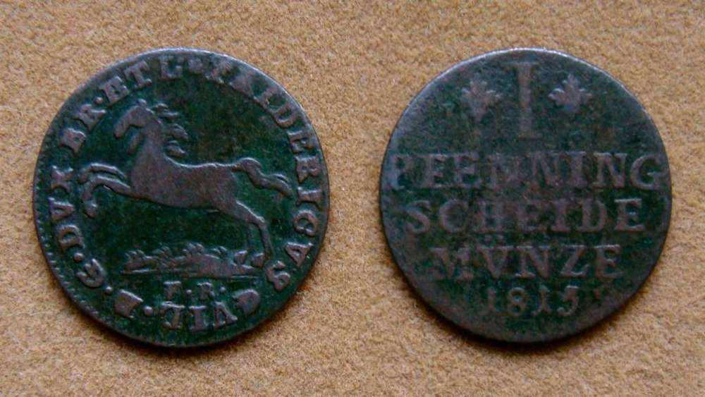 Moneda de 1 pfenning, Brunswick-Wolfenbüttel, Alemania 1815