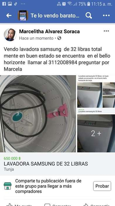 Vendo Lavadora Samsung de 32 Libras