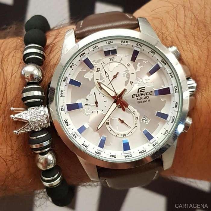 Reloj Casio plateado con pulso marron oscuro para caballero en venta