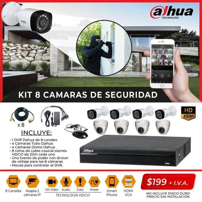 Camaras de Seguridad Kit Dahua 8 camaras. HD, 720P. CCTV. SEGURIDAD ELECTRONICA. KITS DAHUA