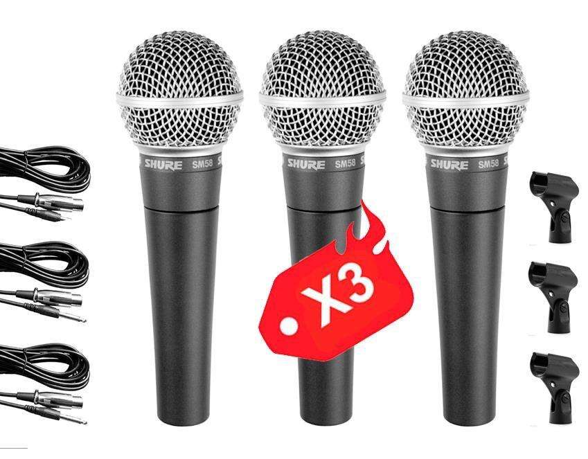 Oferta X 3 Shure Sm58 Microfono Dj Mixer