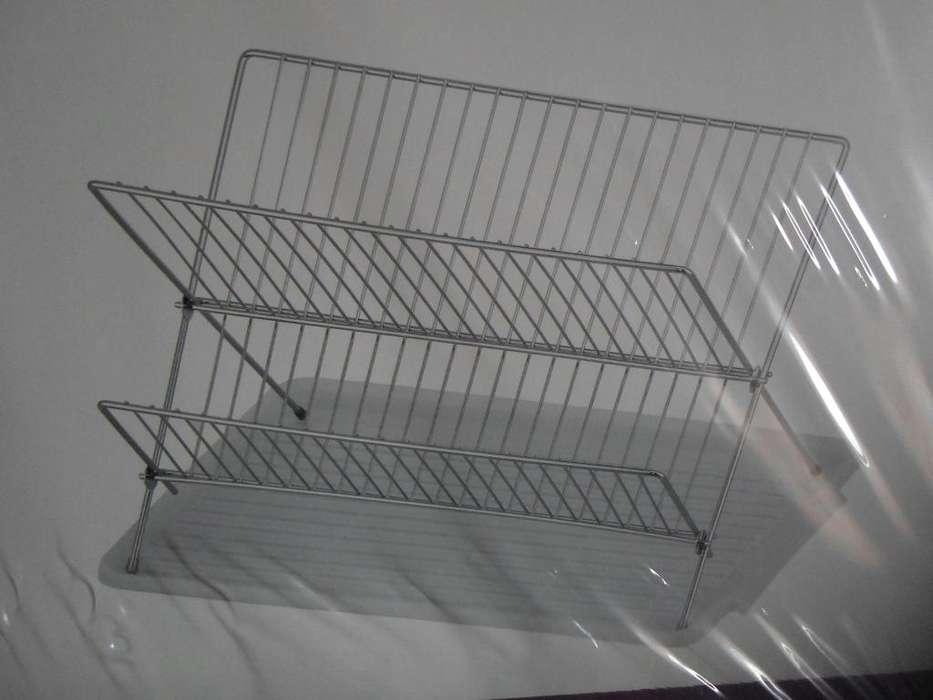 """""""Escurridor Abanico Con Bandeja: 44 cm x 32 cm x 25 cm –Metal y Plastico- P/Estrenar"""""""