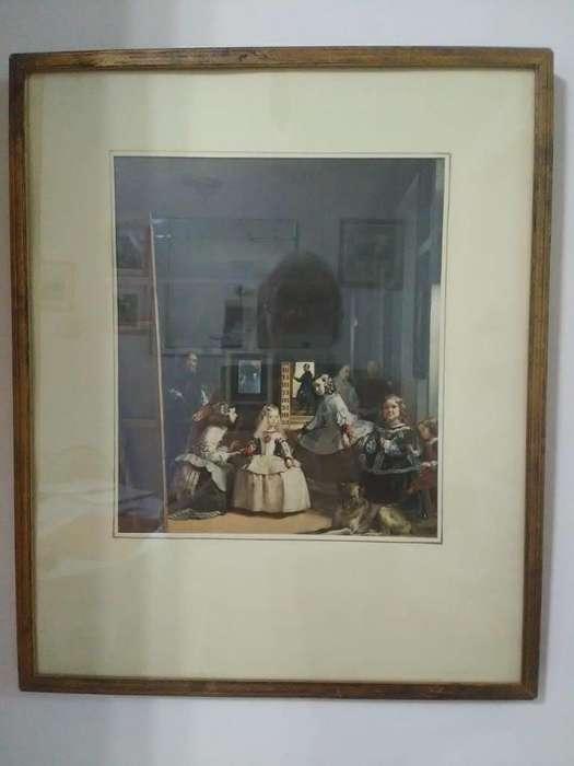 Liquido!Cuadro con lámina de Las Meninas de Velázquez con marco de madera dorado