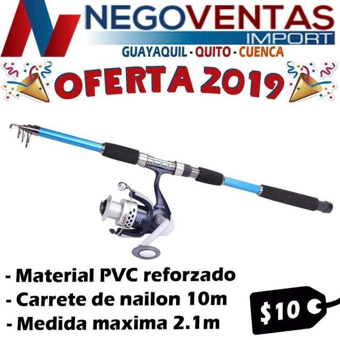 CAÑA DE PESCAR DEPORTIVA DE 2.10 METRO TELESCOPICA INCLUYE CARRETE HILO NAILO 10