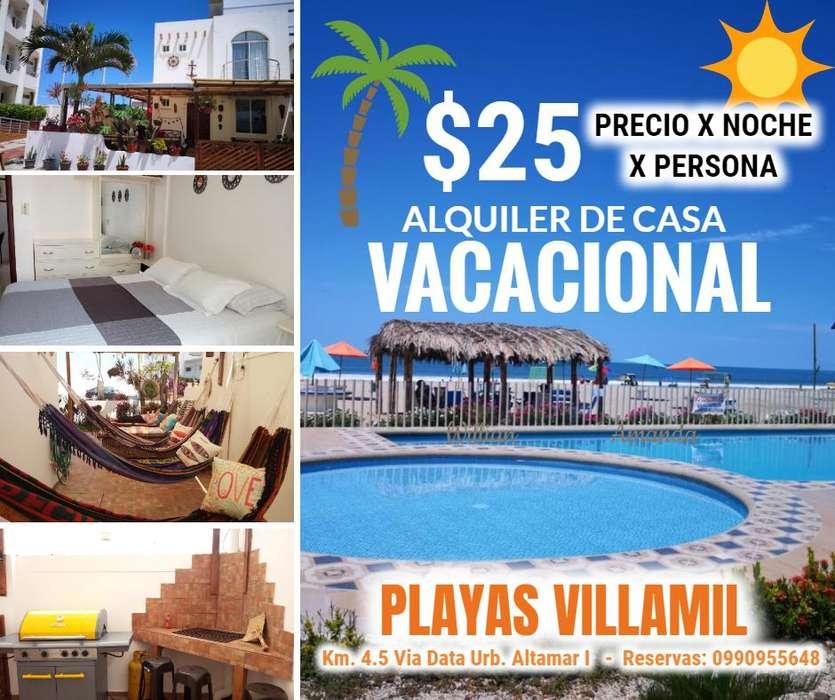 Hermosa Casa Vacacional en Playas Villamil 25 x noche x persona