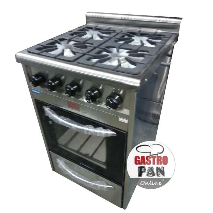 Cocina Industrial 4 Hornallas Horno Pizzero con Visor TecnoCalor 58 cm