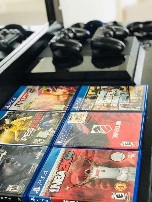 Play station 4 2 controles juegos audfonos