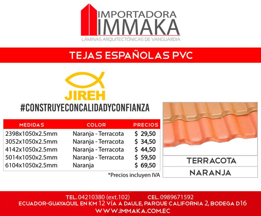 Tejas españolas Pvc, Techado, Colonial