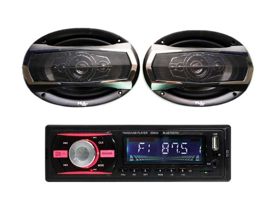 PAGO CONTRA ENTREGA, Combo Radio Carro Usb Bluetooth, Parlantes Kl Audio Ovalado